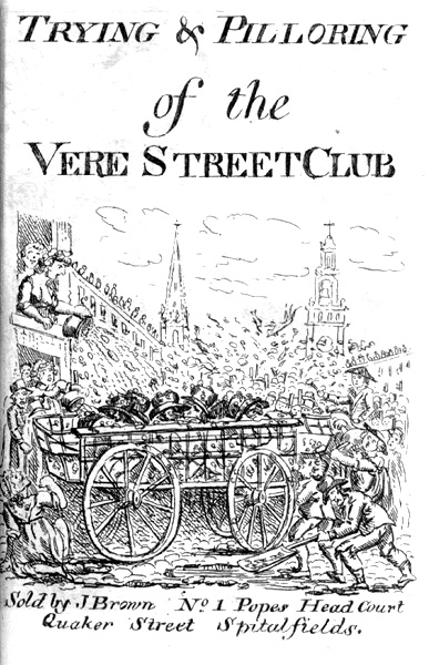 Cover of the pamphlet on the Trying and Pilloring of the Vere Street Club
